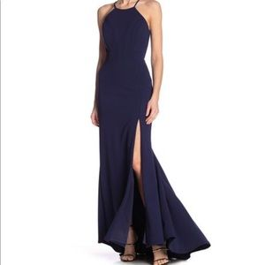 JUMP halter open back gown in navy blue